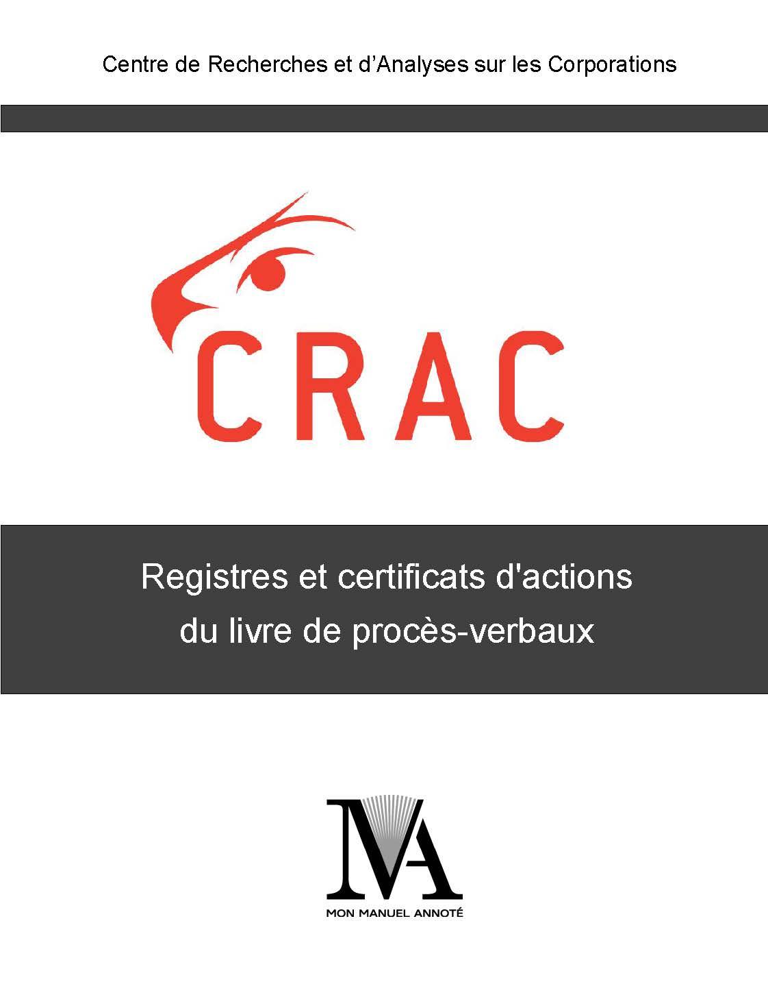 CRAC - Registres et certificats d'actions du livre de procès-verbaux